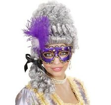 Purple Venetian Eye Mask With Feathers Masked Masquerade Ball Fancy Dress