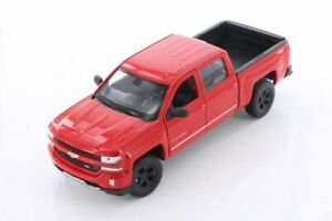 2017 Chevy Silverado, Red - Welly 24083/4D - 1/24 Scale Diecast Model Toy Car