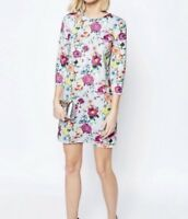 ASOS Ladies Botanical Print 3/4 Sleeve Shift Mini Dress In Grey UK 10 Rrp£50