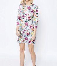 ASOS Ladies Botanical Print 3/4 Sleeve Shift Mini Dress In Grey UK 10 Rrp£50
