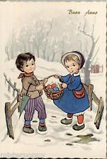 Bambini con Ombrellino verde Buon Anno Childrens New Year PC Circa 1950 S425/4