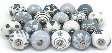 10 Knobs Grey & White Cream Rare Hand Painted Ceramic Knobs Cabinet Drawer Pull