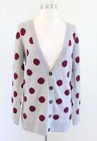 Wallace Madewell Gray Red Blue Polka Dot V Neck Merino Wool Cardigan Sweater S