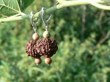 Rudraksha balancing earrings Third Eye chakra Shiva Shakti Hindu symbol Handmade