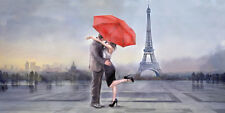 Michael Tarin: Paris Love Keilrahmen-Bild 50x100 Leinwand Paar Liebe Romantik