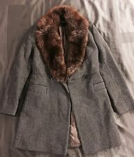 FRENCH CONNECTION Tweed Wool Faux Fur Collar Trench Coat Black Fox Brown Sz 4