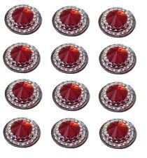 40 SELF ADHESIVE ROUND SHAPED RUBY RED RESIN DIAMANTE RHINESTONES GEMS 12 MM