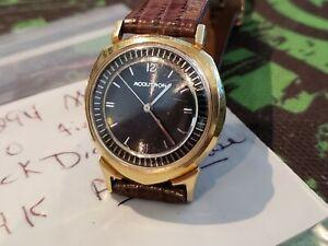 Rare 1960 Vintage 14k Gold Bulova Accutron Alpha Black Dial Case Watch 1st year