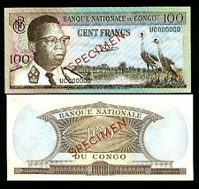 "CONGO BANKNOTE ,100 FRANCS YEAR 1964 "" SPECIMEN """