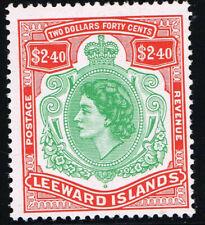 More details for leeward islands 1954 qe ii $2.40 bluish-grn & red with broken scroll lmm sg139a