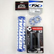 "Renthal Blue 10"" Crossbar Bar Pad Grip Donuts BLK ODI Ruffian MX Grips YZ WR TTR"