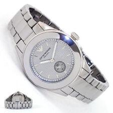 Nueva marca EMPORIO ARMANI Esfera Plateada Ceramica Ladies Watch AR1463