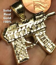 10k SOLID REAL GOLD Yellow UZI GUN Weapon pistol Pendant Charm 1.50""