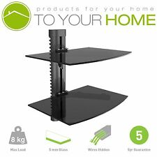 Black Double Twin Two Floating Glass Shelves Wall Mount Bracket Stand DVD Sky