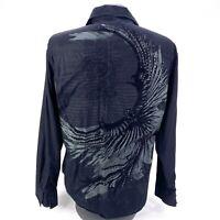 Roar Phoenix Button Up Long Sleeve Shirt Embroidered Men's Size XXL Black Cotton