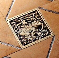 Antique Brass Elephant Design Shower Grate Bathroom Floor Drain Waste Phr025