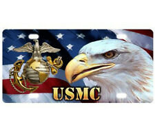 New listing Usmc Marine Corps Us Flag White Eagle Strong and Durable Aluminum License Plate