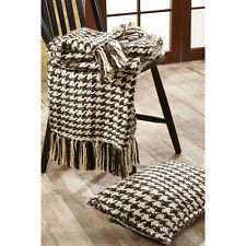 """CARRINGTON Woven Throw Creme/Brown Houndstooth Rustic Country Primitive 55""""x70"""""""