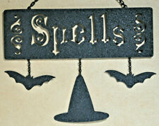 Halloween Spells Black Metal Tin Wall Hanging Sign Bats Witches Hat