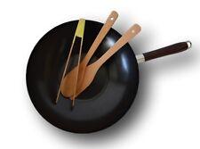 Wokset wokpfanne 30 cm Ø WOK PADELLA ACCIAIO ANTI detenzione con 3 bambù aiuto in cucina Set