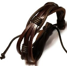 Brown Leather surfer Bracelet Wristband mens ladies womens boys girls jewellery