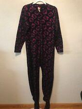 6c3b6c924 Adult Women's Hello Kitty Footed Zip-up Pajamas Sleepwear Metallic Pink  Size M
