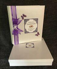 Large Traditional Tissue interleaved Wedding Album & Presentation box Purple