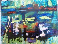 """BERTHOMME SAINT-ANDRE (1905-1977) """"Reflets sur l'étang"""" Huile sur toile"""