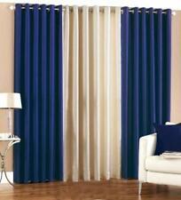 New Polyester Long Crush 3 Piece Curtain Set - 2 Navy Blue 1 Cream - 5ft