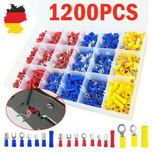 1200pc Assorted Insulated Electrical Wire Terminal Crimp Connector Spade Set Kit