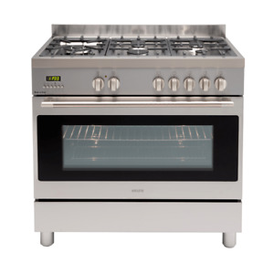 Euro EFS900LDX 90cm Stainless Steel Dual Fuel Freestanding Stove