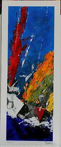 Toraldo Francesco - Serigrafia polimaterica su carta 20x50 cm -Malcesine 2
