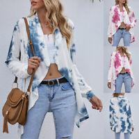 Women's Tie Dye Long Cardigan Kimono Duster Open Front Long Sleeve Boho Outwear
