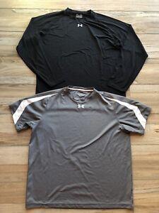 Under Armour Men's XL Extra Large Athletic Shirts Long Short Sleeve Grey Black