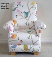 Harlequin What A Hoot Fabric Child Chair Pink Kids Nursery Bedroom Owl Birds New
