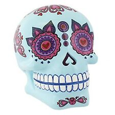 Blue Candy Skull Money Coin Box Saving Ornament Gift DAY OF THE DEAD Mexican