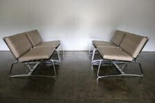 "Divine Pristine Suite of 4 Minotti ""Delaunay"" Armchairs in Chrome & Pale Brow..."