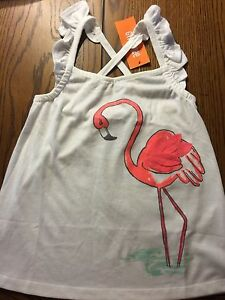 NWT Gymboree Ice Cream Parlor Girls Flutter Sleeves Flamingo Tank Top Size 5