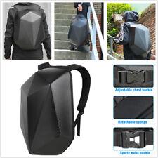 Carbon Fiber Style Motorcycle Backpack Hard Shell Shoulder Bag Waterproof Black