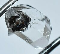 3.55 Ct Rare Herkimer Diamond Water Clear Quartz Crystal Anthraxolite Rough