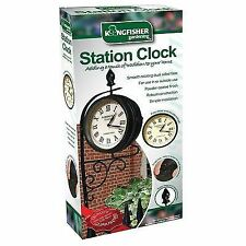 STATION CLOCK BRACKET DUAL FACED GARDEN VICTORIAN OUTDOOR ANTIQUE WATCH NEW