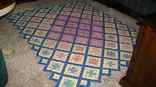 Antique Yo Yo Quilt, 100% Cotton Bedspread Multi-color, Handmade Full -1920's