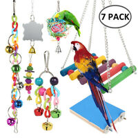 7 Pcs Beaks Metal Rope Small Parrot Toy Budgie Cockatiel Cage Bird Toys Set