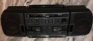 GE AM FM Dual Cassette Stereo Hi Speed Dubbing EQ Boombox Model 3-5677B-SHIP24HR