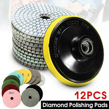 "12x Diamond Polishing Pads Wet/Dry 4"" Set Kit Granite Concrete Marble Polishing"
