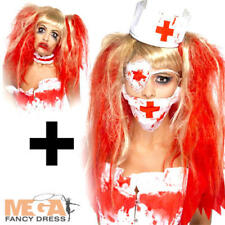 Zombie Nurse Wig + Hat + Mask Kit Ladies Halloween Fancy Dress Costume Accessory