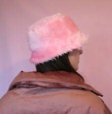 Baby Pink Fluffy Faux Fur Bucket Hat - Handmade - Festival 18c543cef49