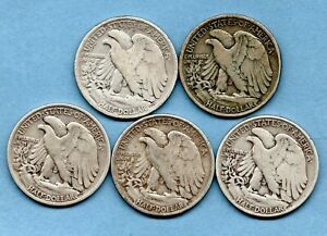 5 X USA SILVER HALF DOLLAR COINS, 1917 - 1942. PHILADELPHIA MINT. JOB LOT.