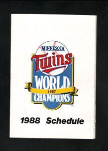 Minnesota Twins--1988 Pocket Schedule--SuperAmerica--World Champions Logo