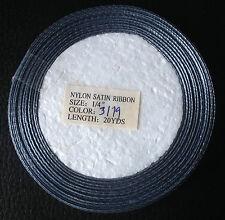 Nylon Satin Ribbon 1/4 inch 6mm wide 18M rol Grey Silver Wedding Christmas Craft